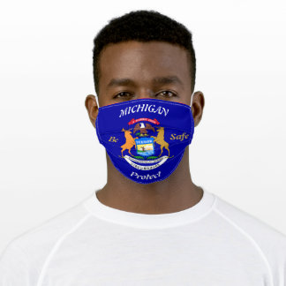 State of Michigan  Blue w/ Flag / Colors Adult Cloth Face Mask