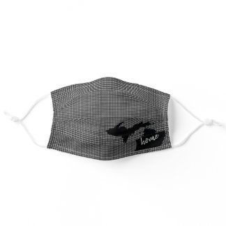 state of Michigan on gingham Adult Cloth Face Mask