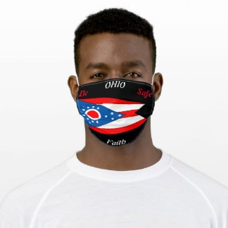 State of Ohio Flag on Black Adult Cloth Face Mask