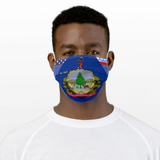 State of Vermont Flag on Blue w/ Stars Stripes Adult Cloth Face Mask