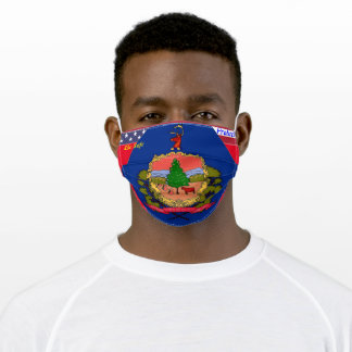 State of Vermont Flag on Red w/ Stars Stripes Adult Cloth Face Mask