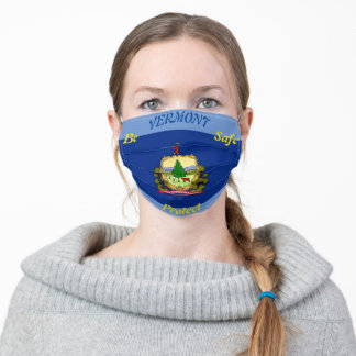 State of Vermont Flag on Sky Blue Adult Cloth Face Mask
