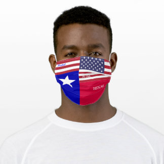 State Texas Flag  w/ Stars Strips Adult Cloth Face Mask