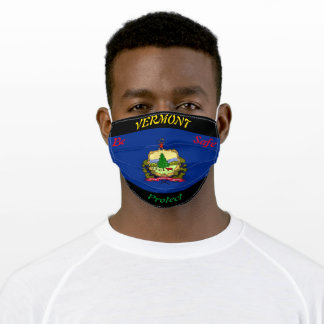 State  Vermont Flag on Black Adult Cloth Face Mask