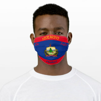 State  Vermont Flag on Red Adult Cloth Face Mask