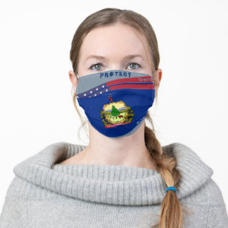 State Vermont Flag w/ Stars Stripes on Cool Grey Adult Cloth Face Mask