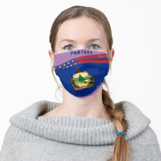 State Vermont Flag w/ Stars Stripes on Lavender Adult Cloth Face Mask