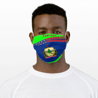 State Vermont Flag w/ Stars Stripes on Lime Green Adult Cloth Face Mask