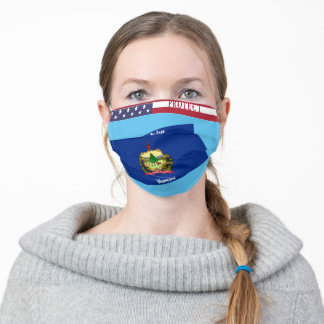 State Vermont Flag w/ Stars Stripes on Sky Blue Adult Cloth Face Mask