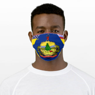 State Vermont Flag w/ Stars Stripes on Yellow Gold Adult Cloth Face Mask