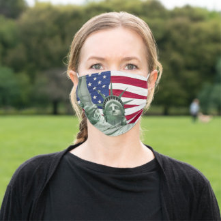 Statue of Liberty and American Flag Adult Cloth Face Mask