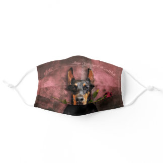 Stay Safe, Dobermann & Rose on Pink - Personalized Adult Cloth Face Mask