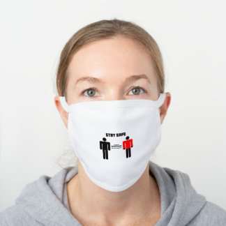 Stay Safe People Red Shirt White Cotton Face Mask