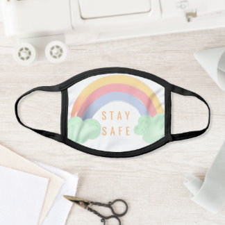 Stay safe watercolor colorful rainbow cute face mask