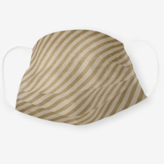 Steampunk Distressed Stripe Gold Reusable Washable Cloth Face Mask