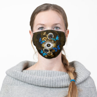 Steampunk Gears and Blue Butterflies Adult Cloth Face Mask