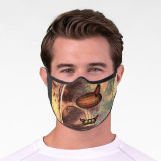 Steampunk Vintage Bronze Airship Premium Face Mask
