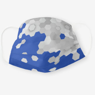 Steel Blue and Gray Hexagon Pattern Cloth Face Mask