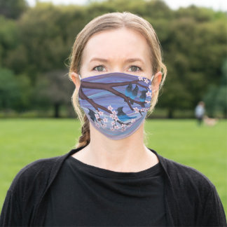 steller's jays & cherry blossoms adult cloth face mask