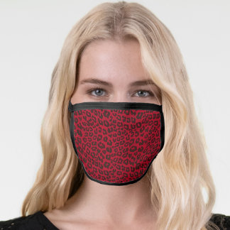 Stippled Cranberry Red Leopard Print Face Mask