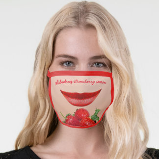 Strawberry Lips Celebrating the Seasonal Fruit Red Face Mask