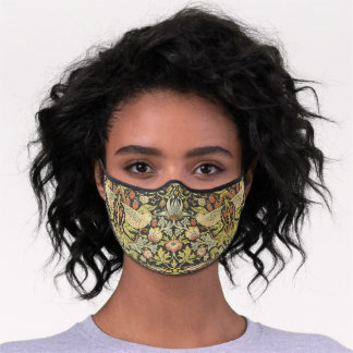 Strawberry Thieves by William Morris, Vintage Art Premium Face Mask