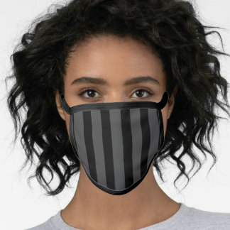 Striped Grey and Black Face Mask