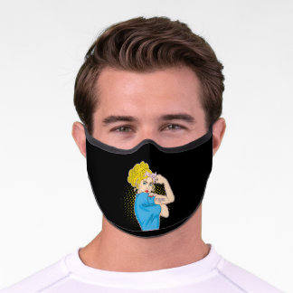 Strong Rosie The Riveter Breast Cancer Awareness Premium Face Mask
