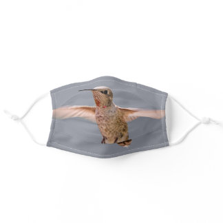 Stunning Anna's Hummingbird Hovers in Place Adult Cloth Face Mask