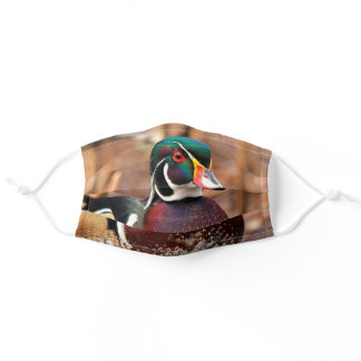 Stunning Male Wood Duck in the Woods Adult Cloth Face Mask