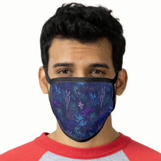 Stunning Purple and Cobalt Blue Palm Trees Face Mask
