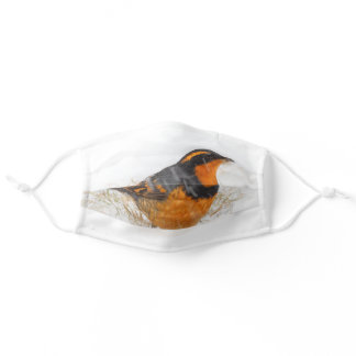 Stunning Varied Thrush Songbird in the Snow Adult Cloth Face Mask