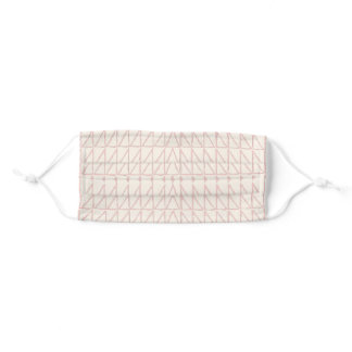 Stylish Abstract Geometric Line Art in Blush Pink  Adult Cloth Face Mask
