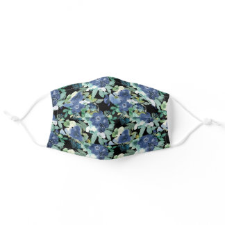 Stylish Blue Mint Watercolor Flowers Black Adult Cloth Face Mask