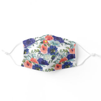 Stylish Girly Navy Blue Coral Flowers White Adult Cloth Face Mask