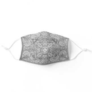 Stylish Gray & White Bandana Pattern Adult Cloth Face Mask