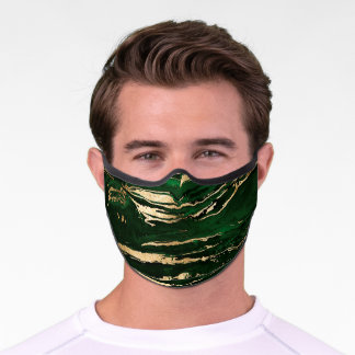 Stylish Green & Gold Abstract Marbleized Paint Premium Face Mask