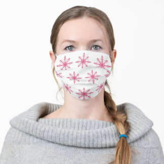 Stylish Red White Symmetrical Art Design Pattern Adult Cloth Face Mask