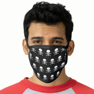 Stylish skull and bones pattern on black face mask