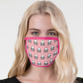 Stylish skull and bones pattern on coral pink face mask