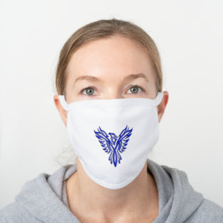 Stylized Blue Phoenix Rising From Ashes White Cotton Face Mask