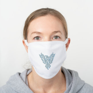 Stylized Ice-blue Phoenix Rising From Ashes White Cotton Face Mask