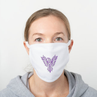 Stylized Lavendar Phoenix Rising From Ashes White Cotton Face Mask