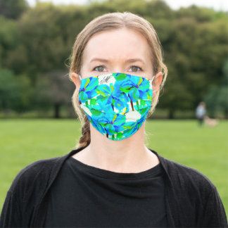 Sublime Himalayan Poppy Aqua Green Floral Pattern Adult Cloth Face Mask