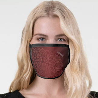 Subtle Mandala and Linen Pattern with Name - red Face Mask