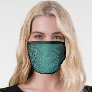Subtle Mandala and Linen Pattern with Name - teal Face Mask