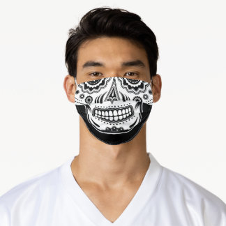 Sugar Skull Day Of The Dead B&W Adult Cloth Face Mask