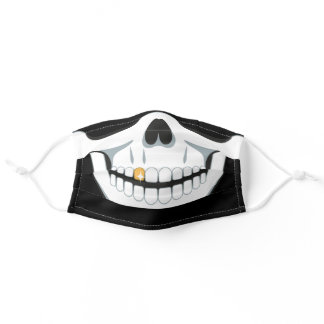 Sugar Skull Gold Tooth Fun Halloween Party Adult Cloth Face Mask