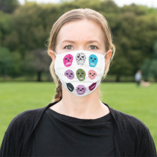 Sugar Skulls Cute Pretty Colorful Pattern Adult Cloth Face Mask
