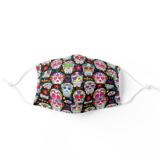 sugar skulls in bright colors on black background adult cloth face mask